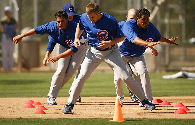 No, it's not a short speed skating race. It's the Cubs doing agility drills.