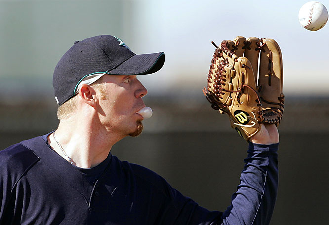 Closer J.J. Putz shows he can not only save games, but chew gum and catch a ball at the same time.