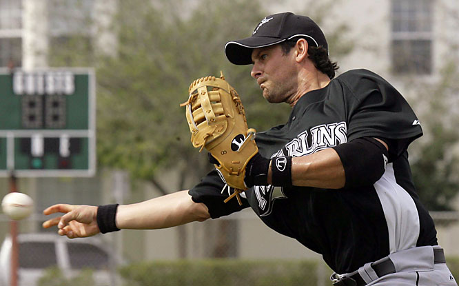 Veteran third baseman Aaron Boone throws to third base. The 33-year-old Boone signed with the Marlins after spending two seasons in Cleveland.