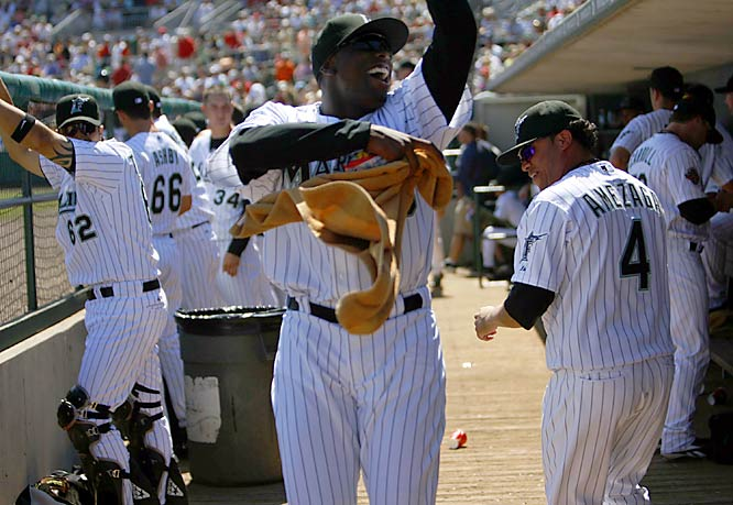 Dontrelle Willis cuts loose in the dugout.