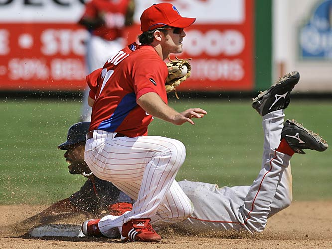 The Red Sox's Bobby Scales is caught trying to steal second by Utley on March 22.