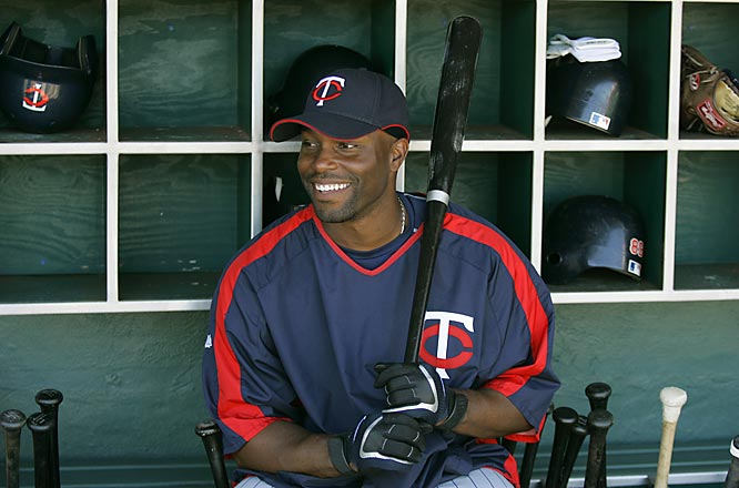 Center fielder Torii Hunter has the dugout all to himself.