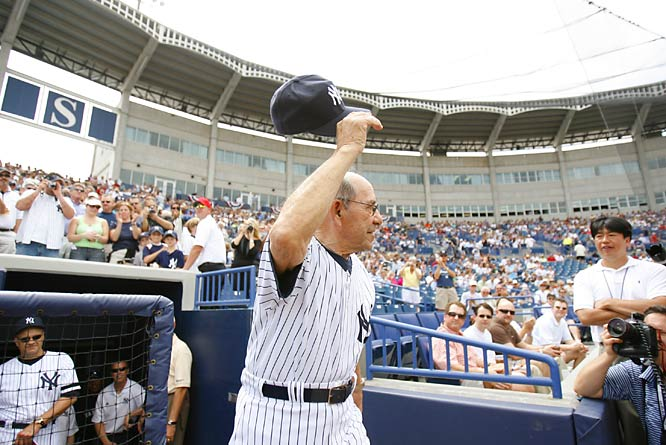 Yogi's back! The Yankees Hall of Fame catcher is introduced to the crowd.