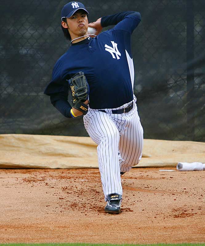 Kei Igawa, the other high-priced pitcher to come out of Japan, gets loose in the bullpen.