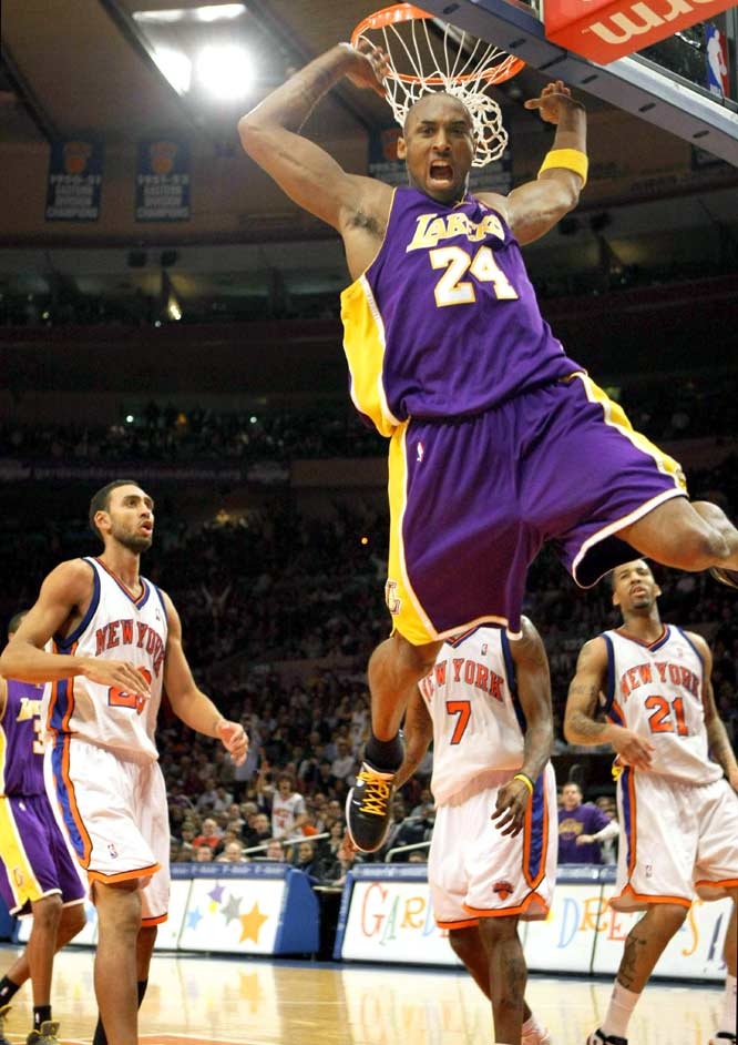 Perhaps motivated by the news that the Lakers would be without Andrew Bynum for 8-12 weeks, Bryant put on a show at Madison Square Garden. The sold-out crowd took turns booing him and saluting him with ''MVP!'' chants, as Bryant passed Michael Jordan 's opponent record of 55 points in a 126-117 win.