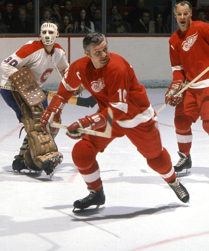 "The versatile forward was the gentlemanly mainstay on Detroit's ""Production Line"" with Ted Lindsay and the more pugnacious Gordie Howe. The beloved and respected ""Fats"" helped the Wings win three Stanley Cups and was awarded the Byng three times (1959, '66, '69)."