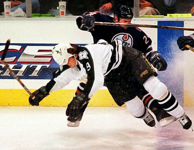 Modano was the NHL's top scorer when notorious cheap-shot merchant Marchment took him out with a punishing low hit. Modano missed six weeks with a resulting knee injury. Marchment received a kneeing major, match penalty, three-game suspension and $1,000 fine.