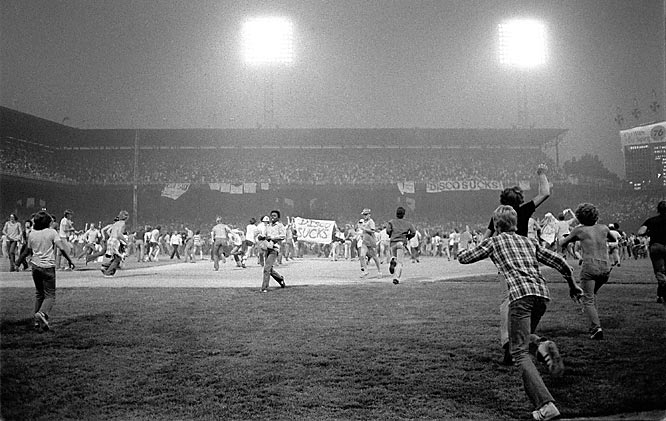Records were broken in dramatic fashion during this promotional night-gone-catastrophically awry. Fans who brought disco albums to Chicago's Comiskey Park were admitted for 98 cents, the records to be blown up by a local DJ between games of a doubleheader between the White Sox and Tigers. A crowd of 50,000 showed up, with 10,000 more clamoring to get in. The records began to fly from the stands late in the first game, and by the time the demolition took place, a riot was in progress with fans storming the field as announcer Harry Caray pleaded for peace.  By the time police cleared the stadium, the field was littered with broken records and burned grass, and the White Sox were forced to forfeit the second game.