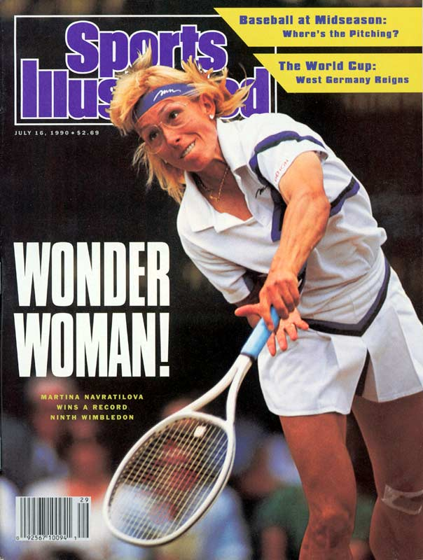 After falling in the previous two Wimbledon singles finals to Steffi Graf, Martina Navratilova finally broke her tie with Helen Wills Moody and became the first player to win nine singles titles at England's venerable tournament. The victory upped Navratilova's Wimbledon singles record to a ridiculous 99-9.