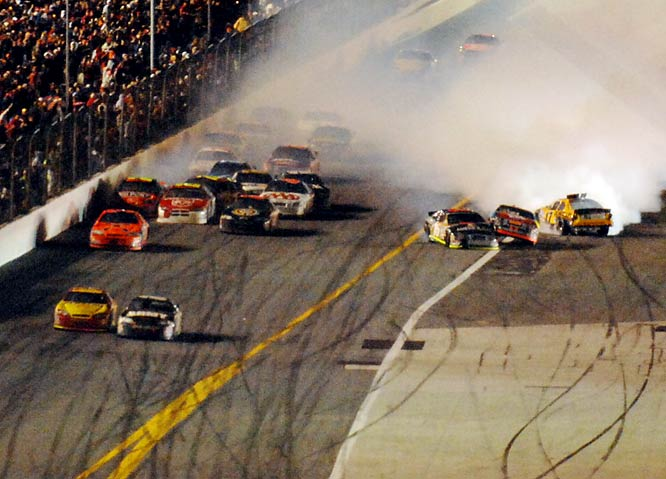 NASCAR, for not throwing a yellow flag on the final lap of this year's Daytona 500.