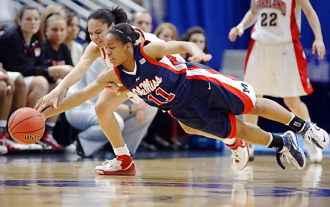 Ole Miss' Shantell Black and Maryland's Kristi Toliver dive for a loose ball. The Rebels upset the defending champion Terrapins, 89-78, to reach the Sweet 16.