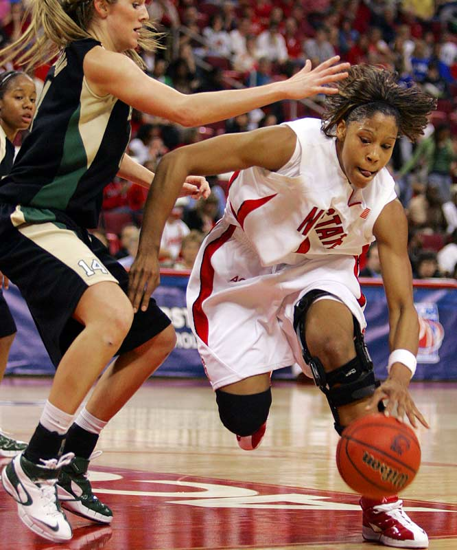 NC State's Khadijah Whittington drives past Baylor's Rachel Allison in the Wolfpack's 78-72 overtime victory on Tuesday.