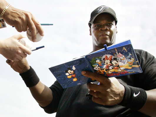 Is it signing autographs or being photographed with a Disney book that has Frank Thomas so unhappy?