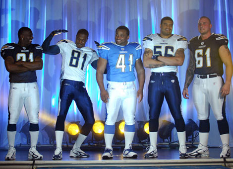 Chargers WR Kassim Osgood (81) seems to like the new San Diego Chargers jerseys more than his teammates.
