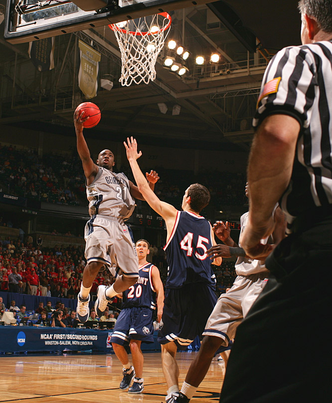 Jessie Sapp led Georgetown with 20 points during the Hoyas' first-round win over Belmont.