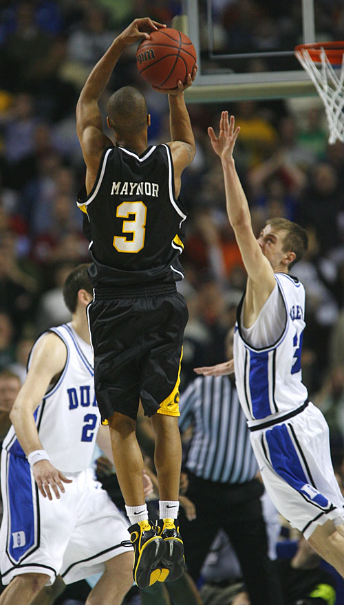 Eric Maynor, who scored 22 points, hits the game-winning jumper with 1.8 seconds left to knock Duke out of the NCAA tournament.