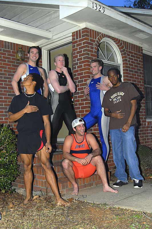 Welcome to the crib of the Auburn swim team, where Jeff Smith (back left), David Maras (back middle) and Luke Weniger (back right) call home. <br><br>Also pictured are  Aharon Conerly and Jonathan Stuckey (who live on the other side of the duplex) and Jordan Collins, a frequent visitor to the complex.