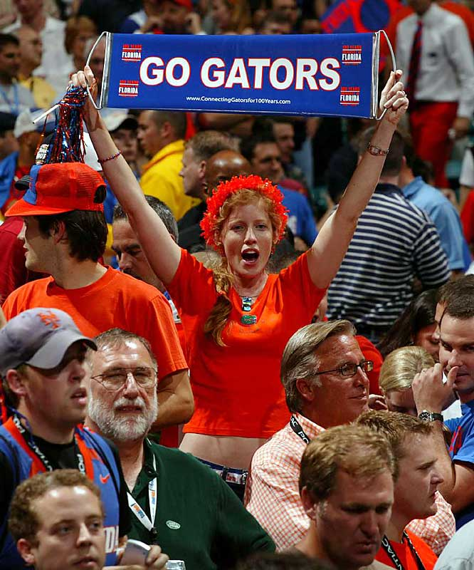 A Florida fan cheers on her team during the second half of the men's championship final.
