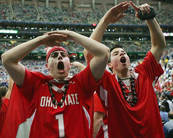 Ohio State fans cheer prior to the Buckeyes' matchup against Georgetown.