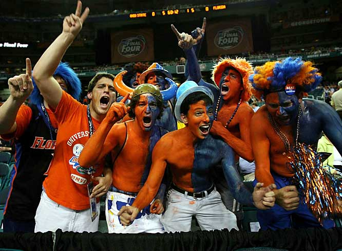 Florida hoop fans celebrate after the Gators won their second straight national championship on Monday.