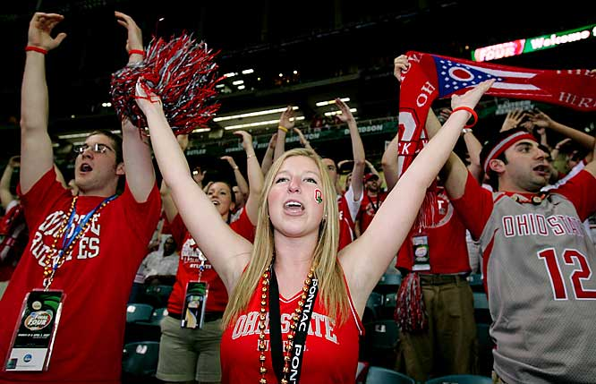 An Ohio State student cheers prior to Monday night's national championship in Atlanta.