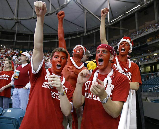 Fans celebrate the Hoosiers victory over Kent State in the 2002 South regional championship game.