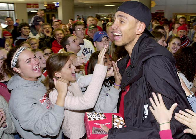 Indiana forward Jared Jeffries is greeted by fans as he leaves Assembly Hall prior to the 2002 Final Four.
