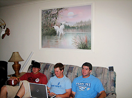 Horton lives in good baseball company with UNC third baseman Joe Peitropaoli, second baseman Bryan Steed and former outfielder Matt Ellington. And of course, to hold onto the memories of former UNC star and current pitcher for the Detroit Tigers, Andrew Miller, the Floridian-ish landscape hangs on their living room wall (Miller is from Gainesville, Fla.). Miller gets to live large in Detroit, Horton and his roommates get a tacky pelican.