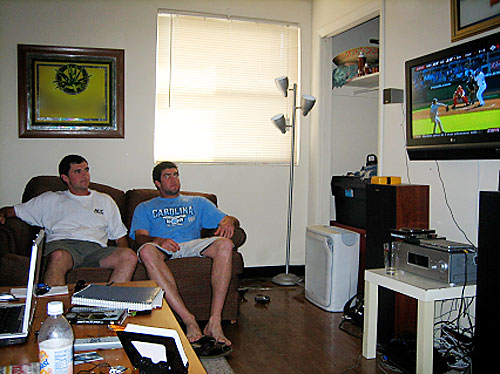 UNC pitcher Matt Danford and Horton catch the opening-day St. Louis Cardinals game on their plasma flat-screen TV.