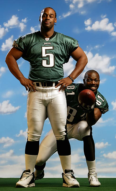 Tielemans's take:<br><br>''Because of the excessive demand for pictures of Donovan McNabb and Terrell Owens together, the Eagles set up a photo day just for them. I was second to last of about a dozen sets, and even after all that time, the players still naturally hammed it up. Of course, after the Eagles' trip to the Super Bowl that season, you could say things sort of soured between these two.''<br><br>Shot with a Canon EOS DS  EF 70-200mm f 2.8