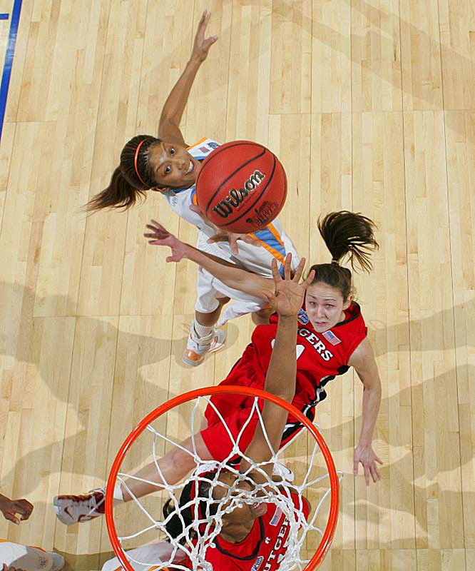Candace Parker fights off Rutgers' Heather Zurich for one of her seven rebounds.