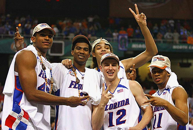 Florida's starting lineup -- Al Horford, Corey Brewer, Joakim Noah, Lee Humphrey and Taurean Green -- celebrate becoming the first team to go back-to-back with the same starting five.
