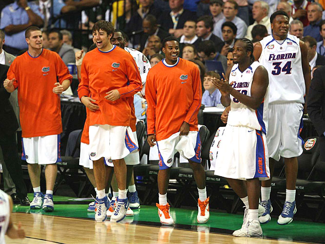 Florida's bench celebrates in the second half of the Gators' victory.