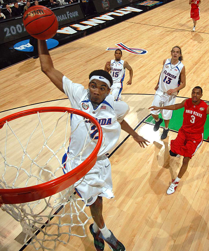 Florida's Corey Brewer skies for a breakaway dunk in the first half.