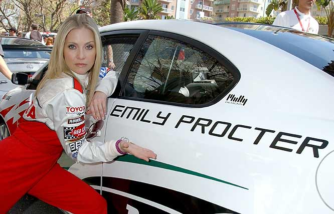 "Every April, the annual Toyota Celebrity/Pro Race in Long Beach, Calif., gives a broad range of entertainment and sports celebrities the chance to get behind the wheel and put the pedal to the metal. Here's a gallery of some of those celebrity racers through the years, as well as big names who have participated in other celebrity events around the world.<br><br>Emiy Procter, who stars in CBS's hit show, ""CSI: Miami,"" obviously isn't confused as to which car she's racing in during this year's event in Long Beach."