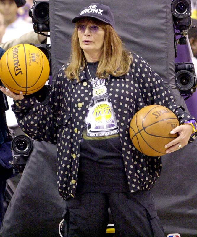Penny Marshall, another noted L.A. fan, pitches in for the Lakers.