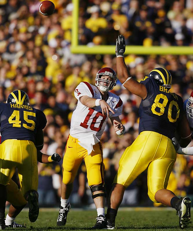 In his first season as USC's starting signal-caller, Booty threw for 3,347 yards and 29 touchdowns to just nine interceptions. The first-team All-Pac-10 performer enjoyed his best game of the season in the Rose Bowl, where he burned Michigan for 391 yards and four touchdowns.