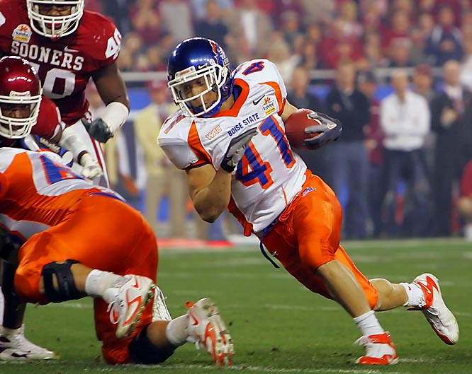Johnson became a national darling after he scored the winning two-point conversion in Boise State's miraculous Fiesta Bowl victory and proceeded to purpose to his girlfriend, a Broncos cheerleader. Johnson led the country with 25 rushing scores.