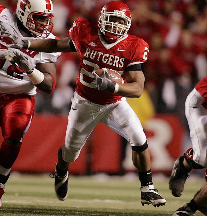 The driving force behind Rutgers' breakout season in 2006, Rice rumbled for 1,794 yards and 20 touchdowns. He will have to adjust to a life without graduated FB Brian Leonard.