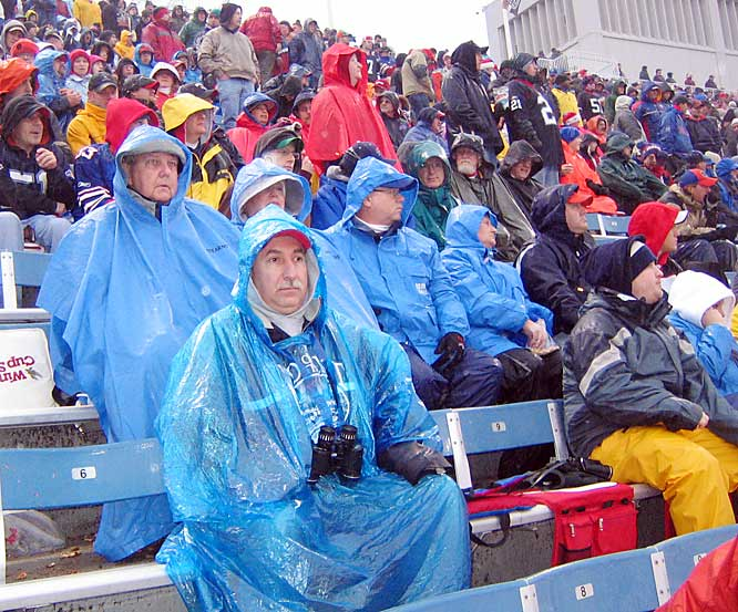 Bills fans brave the elements during a win over Miami last December. The game did not sell out, the first Dolphin game not to air locally since 1987.