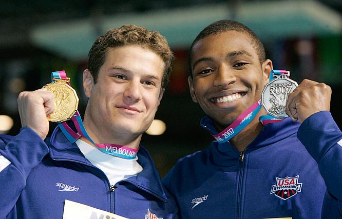 U.S. one, two in the men's 50m freestyle. Benjamin Wildman-Tobriner winning gold and Cullen Jones capturing silver.