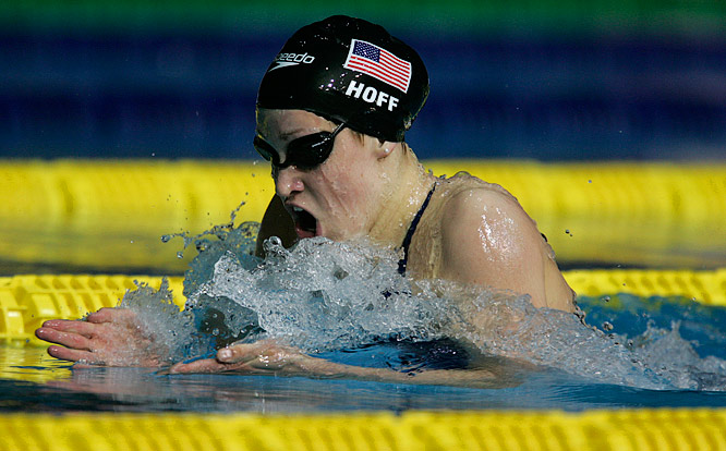Katie Hoff during the breaststroke leg of the women's 400m individual medley.