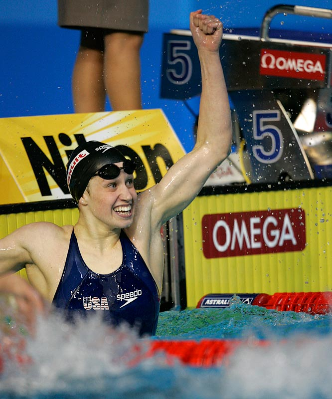 Katie Hoff celebrates her gold medal in the women's 400m individual medley, finishing in 4 minutes 32.89 seconds, a new world record.