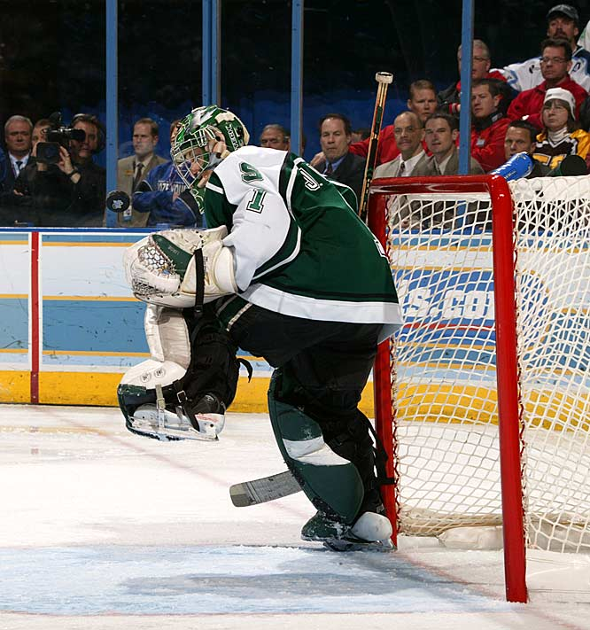Michigan State's Jeff Lerg makes yet another of his 29 saves.