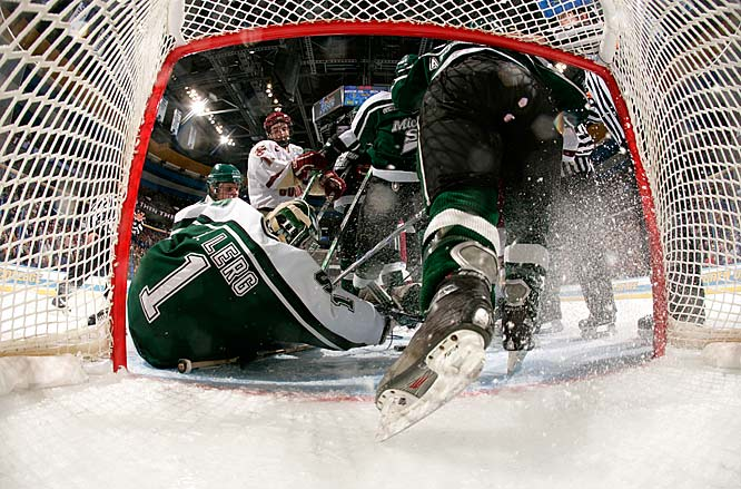 Michigan State goalie Jeff Lerg makes a save during the 2007 NCAA Hockey Frozen Four Championship. Michigan State won the game 3-1.