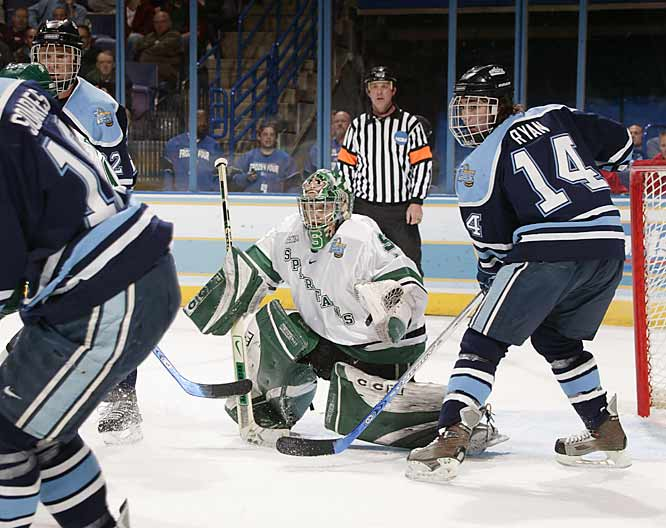Jeff Lerg made 29 saves, helping Michigan State rally from the early two-goal deficit to beat Maine.