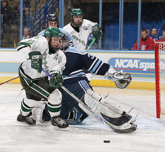 Michigan State scored three of its goals on rebounds given up by Maine goalie Ben Bishop. Bishop had allowed only one goal in his two previous games to help his team to the Frozen Four for the fourth time in six years.