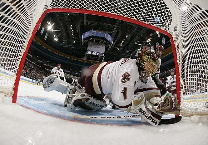 Jonathan Toews slapped the puck past Boston College goalie Cory Schneider during a North Dakota power play at 3:15 of the second period.