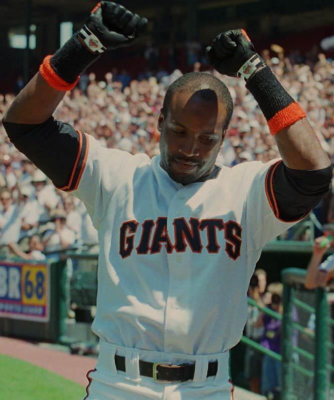 Barry Bonds<br>Date, Site: April 27, 1996, Candlestick Park<br>Pitcher: John Burkett<br>Inning: 3rd, Men on Base: 1, Outs: 0<br>Game Result: Giants 6, Marlins 3<br><br><br> Hank Aaron<br>Date, Site: April 19, 1963, Polo Grounds<br>Pitcher: Roger Craig<br>Inning: 8th, Men on Base: 1, Outs: 1<br>Game Result: Mets 5, Braves 4