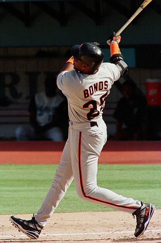 Barry Bonds<br>Date, Site: Aug. 23, 1998, Joe Robbie Stadium<br>Pitcher: Kirt Ojala, Florida Marlins<br>Inning: 3rd, Men on Base: 0, Outs: 1<br>Game Result: Giants 10, Marlins 5<br><br><br> Hank Aaron<br>Date, Site: April 20, 1966, Connie Mack Stadium<br>Pitcher: Bo Belinsky<br>Inning: 9th, Men on Base: 0, Outs: 0<br>Game Result: Braves 8, Phillies 1